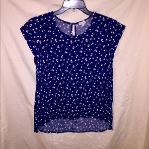 Blue Silky Blouse with White Stars.